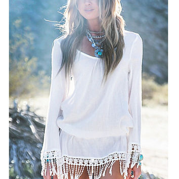 Hot Sale Sexy Long Sleeve Lace Tassels Hollow Out Beach One Piece Dress [4981689924]