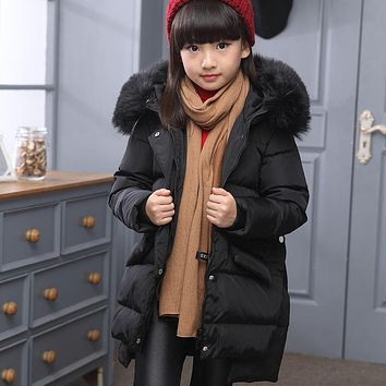 Girl's Real Down jackets/coats winter baby Coats thick duck Warm jacket Fur Children Outer wears -30 degree jackets