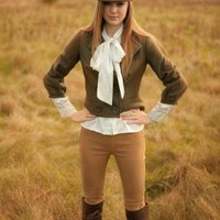 Military Style Short Jacket with Metal Bow Brooch