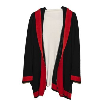 Vintage Italian Knit Cardigan, Self Hood, Red, Black & White Color Block