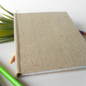 A6 Fabric notebook journal with 80 blank pages ( 40 sheets), fabric hardcover moleskine notebook with natural linen fabric covers, A5, A4