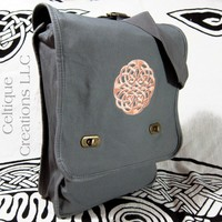 Celtic Knot Verticle Messenger Bag Gray Cotton Canvas Peach and White