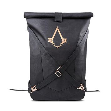 New Official Assassins Creed Syndicate Logo Black Folded Backpack Bag