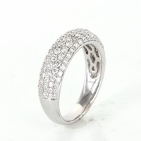 1.50ct Pave Diamond Half Band Ring Vintage 18 Karat White Gold Estate Fine Jewelry