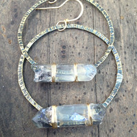 Raw Quartz Crystal Earrings Icy Blue Crystal Earrings