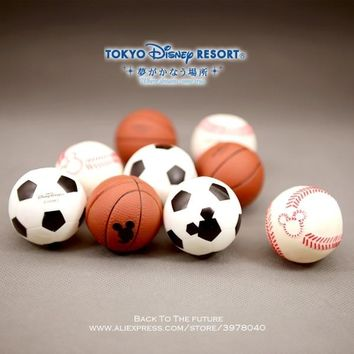 Disney Mickey Mouse baseball basketball 3pcs/set 4cm Action Figure Anime Decoration Collection Figurine Toy model for children