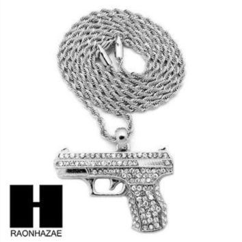 ESBONRC MEN'S ICED OUT WHITE GOLD PLATED GUN PENDANT W 3mm 24' ROPE CHAIN NECKLACE D32S