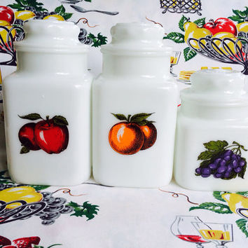 Milk Glass Fruit Canisters Apothecary Jars Apple Orange Grape Vintage Kitchen