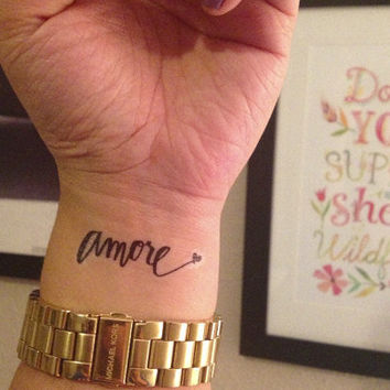 Temporary Handwritten Amore Tattoo by nguyenpaperco on Etsy