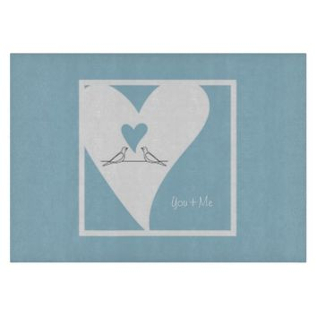 Personalized Girly Decorative Glass Cutting Boards: Gift Idea for Cooking Lovers or Wedding: Cute White Doves in Love