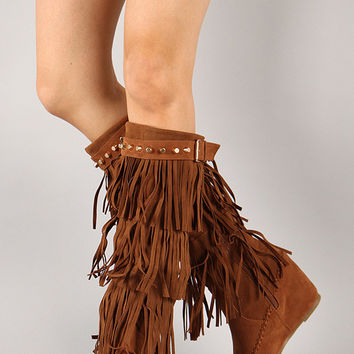 Fringe Studded Moccasin Knee High Wedge Boot