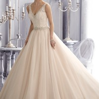 Mori Lee Wedding Dress A-Line V-Neckline Ball Gown Venice Lace Embroidered Illusion Back