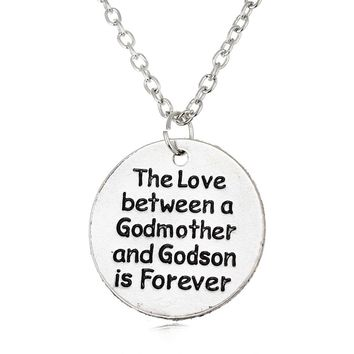 The Love Between Godmother And Godson & Goddaughter Is Forever Pendant Necklace Family Jewelry Gift Chain Engrave Necklaces
