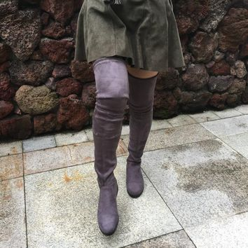 Sexy Stretch Suede Over the Knee Flat Thigh High Boots