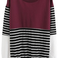 Color Block Stripe Print Sweatshirt with Long Sleeve