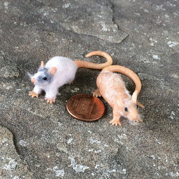 Custom Miniature Polymer Rat Sculpture - Handmade