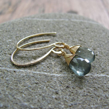 moss aquamarine briolette dangles by AnnikaLane on Etsy