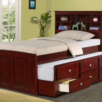 Logan Twin Size Bookcase Combo Captain's Bed