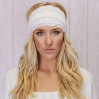 Ivory Jersey Headband Stretchy Head Wrap with White Lace Trim