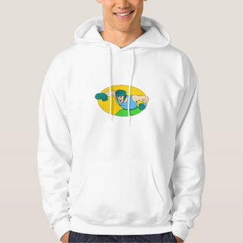 Amateur Boxer Knockout Punch Drawing Hoodie