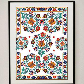 Floral Folk Art Print - Home Decor