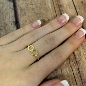 Gold double circle,Harry potter glasses Midi ring, Ring, Knuckle Ring, fashion ring accessory above the knuckle  By hot2own