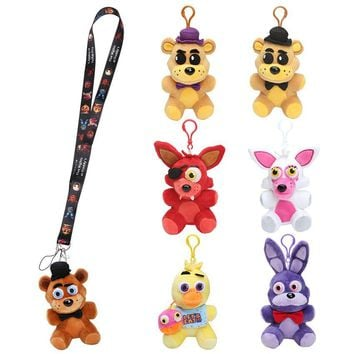 Strap + plush keychain  toys  At  Plush toys Freddy Fazbear bear Foxy bonnie plush pendant