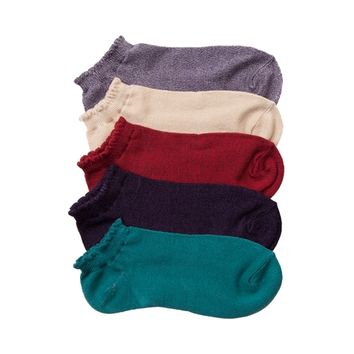 Womens Marled Scallop Low Socks 5 Pack