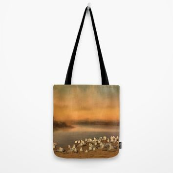 Seagulls On The Beach At Sunset Tote Bag by Theresa Campbell D'August Art