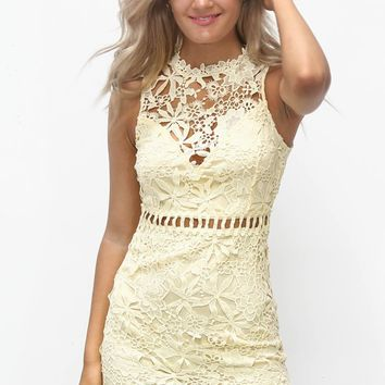 Save The Date Yellow Lace Dress