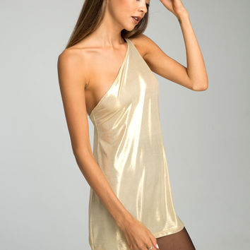 Kate Slip Dress in Gold Rush by Motel