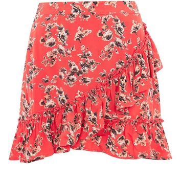 Red Flower Frill Skirt | Topshop