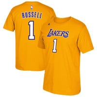 D'Angelo Russell Los Angeles Lakers adidas Net Number T-Shirt - Gold