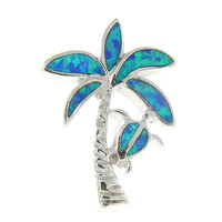 925 Sterling Silver Rhodium Hawaiian Palm Tree Honu Blue Opal Slider Pendant