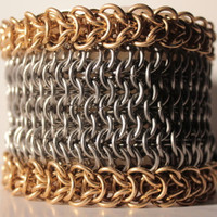 men's stainless steel and brass chainmaille cuff bracelet