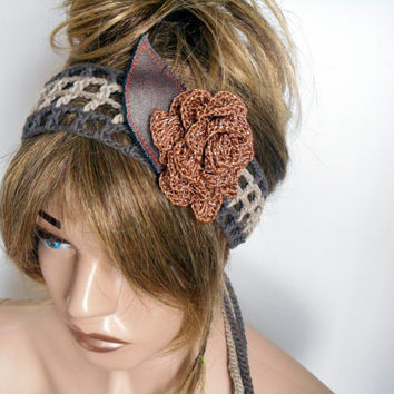 Crochet Headband, Handmade, Knitting Hair Band, Headband Brown, Headband Boho Head, Bohemian Women, Gift İdeas, Hair Accessory