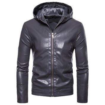 Men's fashion brand winter hooded leather clothes jacket man new personality fashion leather jacket Slim fit EU/US Large size