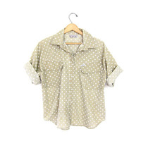 vintage polka dot shirt. Minimal slouchy tee shirt. Preppy beige button up raglan tshirt. 80s loose fit oversized top. Pocket tshirt.