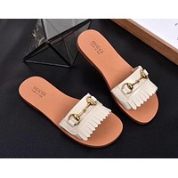 "Hot Sale ""GUCCI"" Summer New Popular Women Simple Tassel Leisure Sandal Slipper Shoes(7-Color) Beige I-ALS-XZ"