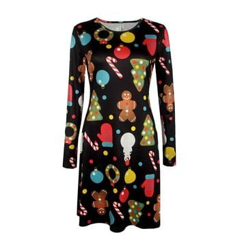 Robe Femme Christmas Dress Women 2017 Spring Autumn Dress Female Long Sleeve Santa Claus Printed Casual Tunic Dress Colorful