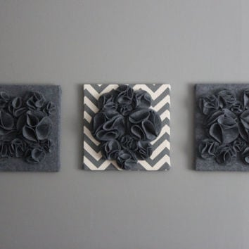 "Three Wall Art Canvases, Gray and Cream Chevron 12x12"" Wall Hangings, Wall Art, Gray Chevron Wall Art, Chevron Home Decor, Wall Decor"