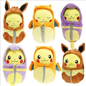 1pcs/lot 20cm Sleeping Bag Pikachu Plush Pikachu Cosplay Charizard Eevee Ekans Sleeping Bag Stuffed Plush Toys for Kids