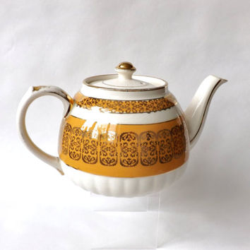 Orange and Gold Vintage Sadler Tea Pot / English Staffordshire Teapot Afternoon Tea Party / Shabby Chic Teapot / Female Gift
