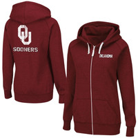 Oklahoma Sooners Ladies Throwback Full Zip Hoodie - Crimson
