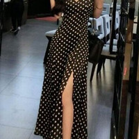 Black Polka Dot Backless Maxi Dress