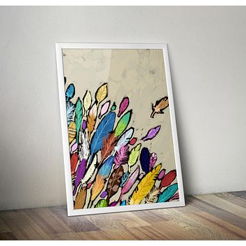 Painted Feathers Art Print Poster  Design no frame 20x30 Large