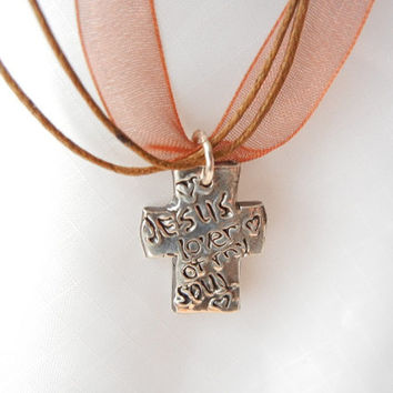 Jesus, Lover of My Soul. Christian Cross Statement. Fine Silver with Ribbon Chain. Jesus. ooak.