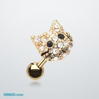 Golden Kitty Multi-Gem Cartilage Earring