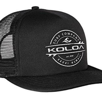 Koloa Surf(tm) Thruster Logo Mesh Back Trucker Hat in Black with White Logo