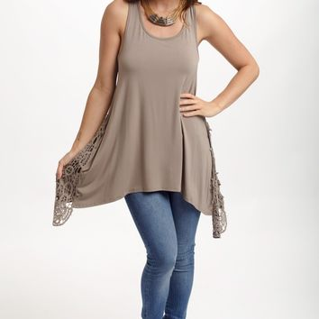 Mocha Crochet Side Racerback Tank Top